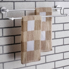 double bars towel rack bathroom accessories wall mounted storage towel holder sliver 6013