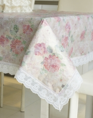 Elegant  Country Style Flower Print Rectangle PVC Tablecloth with Lace Edge Pink 137cm*183cm