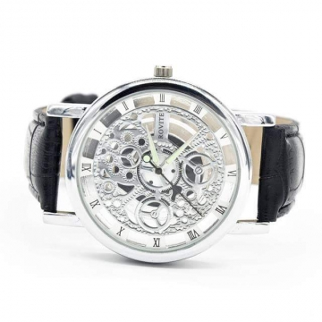 mens skeleton watch black