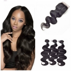 8A Brazilian virgin hair 100%human hair weave body wave (100g/pc) 3pcs+1pc lace closure 4x4 nature black 26 28 30+20 inch