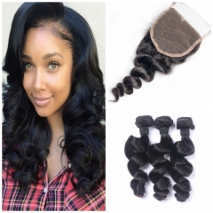 8A Brazilian virgin hair 100%human hair weave loose wave (100g/pc) 3pcs+1pc lace closure 4x4 nature black 8 8 8+8 inch