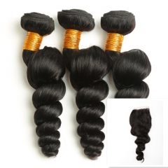 9A Brazilian Virgin Hair Good Quality 100%HumanHair Weave Loose Wave(100g/pc)3pcs+1pcLace Closure4x4 nature black 8 8 8+8 inch