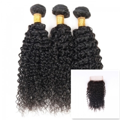 9A Brazilian Virgin Hair Good Quality 100%HumanHairWeave Kinky Curly(100g/pc)3pcs+1pcLace Closure4x4 nature black 8 8 8+8 inch