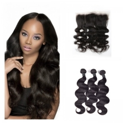 8A Brazilian virgin hair 100%human hair weave body wave (100g/pc) 3pcs+1pc lace frontal 13x4 nature black 8 8 8+8 inch