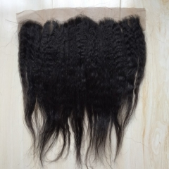 9A Brazilian Virgin Hair Good Quality 100%Human Hair Lace Frontal 13X4 Kinky Staight 8-20 inch nature black 8 inch