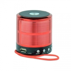 WS-887 - Mini Bluetooth Wireless Stereo Speakers FM, Memory Card, Bluetooth, USB - Red red 2 1