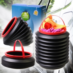 PP Plastic Camping Folding Bucket Garrafa for Home Kitchen Cleaning/ Car Accessories Black