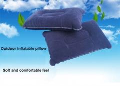 Outdoor Camping Pillow Air Inflatable Pillows Ultralight Folding Pillow Flocking Cushion Blue