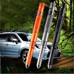 Tactical Pen Self Defense Pen 4 in 1 Glass Breaker whistle Led Falshlight Ballpoint Pen Black 15.8X2cm