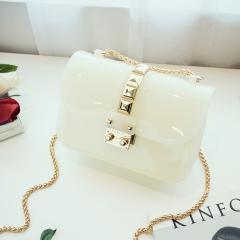 New women Messenger bag  jelly candy handbag phone Sandy beach mini bag white one size