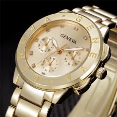 Men Watches Women Gold Full Steel Geneva Quartz Wrist Watch gold