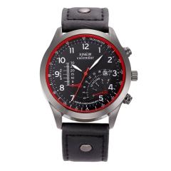 Hot Watches Mens Leather Band Date Analog Quartz Wrist Watch black black, one size