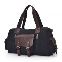 New long-distance travel bag canvas large-capacity men and women portable shoulder Messenger black one size