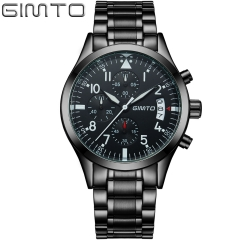 Business waterproof sports chronograph multifunction  watch black one size
