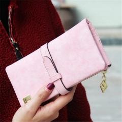 Fashion Women Wallets PU Drawstring Nubuck Leather Zipper Purse Card Holder Long Wallet 2 fold pink one size