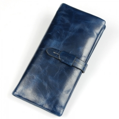 Genuine Leather Women Wallet Long thin Purse Cowhide multiple Cards Holder Clutch Wallet blue one size