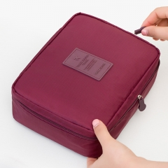 Beauty Case Make Up Organizer Toiletry bag kits Storage Travel Wash pouch wine red one size