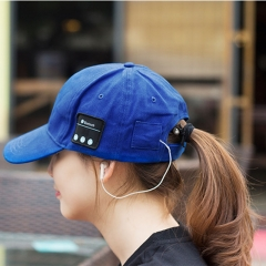 Bluetooth Earphone Baseball Hat Gorro Bluetooth Cap Music Hat Headset Outdoor Sports Headphones blue one size