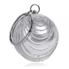 Circular Shaped Tassel Rhinestones Women Evening Bags With Handle Diamonds Metal Handbags white one size