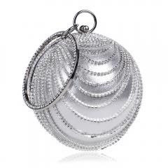 Circular Shaped Tassel Rhinestones Women Evening Bags With Handle Diamonds Metal Handbags white one size
