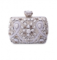 Europe and the United States heavy jewel studded dinner bag white one size