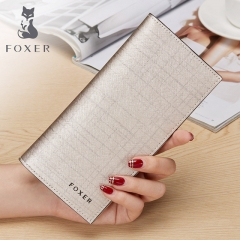 FOXER Famous brand Women Leather designer Wallet & Purse Fashion Gold Female long Wallets gold one size