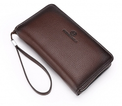 Leather Purse Men's Clutch Wallets Handy Bags Business Wallets brown one size