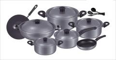 Fine 15 pieces non-stick cooking set (Alluminum) Lid grey set