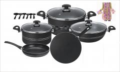 Galaxy 17 pcs non stick set (glass lid) grey set