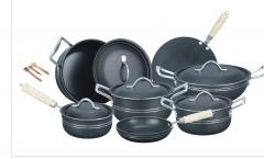 Fine Stylish 15 pieces non-stick cooking set (Aluminum) Lid grey set