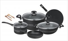 Fine super non stick 11pcs cooking set (Glass lid) grey set