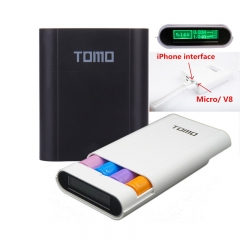 Tomo Original Portable Power Bank For Smart Phone Micro/USB 18650 External Battery Case  Charger black 3 batteries