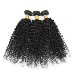 3 Bundles/300g Unprocessed Brazilian Human Hair Weave  Kinky Curly Full Head Set #1b natural black 3pcs 10inch