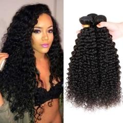 4 Bundles/400g Unprocessed Peruvian Human Hair Weave Kinky Curly Full Head Set #1b natural black 4pcs 10inch