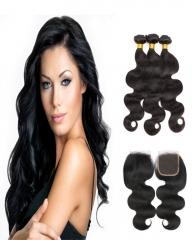 8A 4*4 Lace Top Clousre with 3 Bundles Full Head Set Peruvian Virgin Hair Body Wave #1b natural black 10