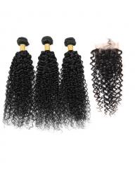 8A 4*4 Lace Top Clousre with 3 Bundles Full Head Set Brazilian Virgin Hair Kinky Curly #1b natural black 10