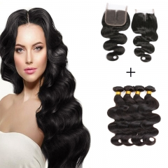 8A 4*4 Lace Top Clousre with 4 Bundles Full Head Indian Virgin Hair Body Wave #1b natural black 8