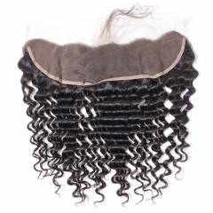 10A Grade 13*4 Ear to Ear Lace Frontal Closure Deep Wave Peruvian Remy Hair with Baby Hair #1b natural black 8 inch
