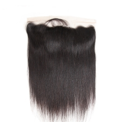 9A Grade 13*4 Ear to Ear Lace Frontal Closure Straight Brazilian Virgin Hair with Baby Hair #1b natural black 8 inch