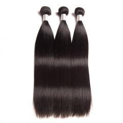 Top Grade Unprocessed Brazilian Human Hair Weave Straigth Full Head Set #1b natural black 3pcs 8inch