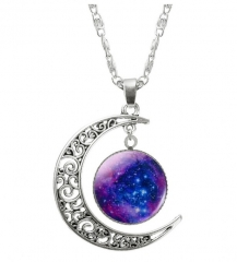 Hollow Moon & Glass Galaxy Statement Necklaces Silver Chain Pendants Jewellery Collares Best Gifts photo color11 one size