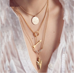 IFeel2017summer style 4 layer arrow design necklace pendant charm gold choker necklace women jewelry gold one size
