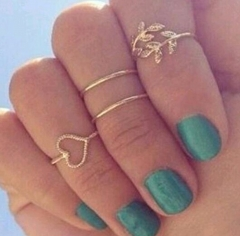4pcs Rings Urban Gold Plated Crystal Plain Cute Above Knuckle Ring Band Midi Ring Set auger leaves gold one size