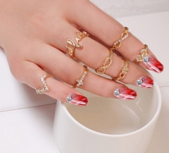 IFeel 1 Set 7 pcs Women's Rhinestone Bowknot Knuckle Midi Mid Finger Tip Stacking Rings gold one size