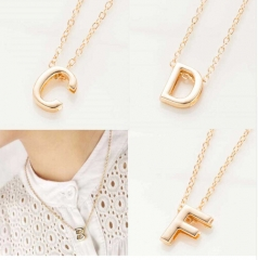 New hot sale fashion Women's Metal Alloy DIY Letter Name Initial Link Chain Charm Pendant Necklace