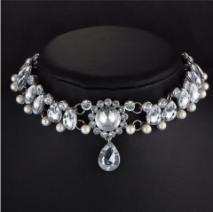 IFeel Boho Collar Choker Water Drop Crystal Beads Choker Necklace &pendant Vintage Jewellery white one size