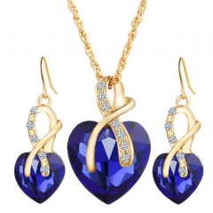 IFeel-3 Piece/set Fashion Love Crystal Heart Jewelry Sets For Women Necklace Earrings Jewellery Set blue as picture