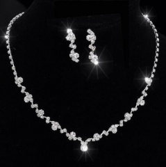 IFeel-3 Piece/set Crystal Tennis Choker Necklace Earrings bridal Wedding Bridesmaid African Jewelry silver as picture