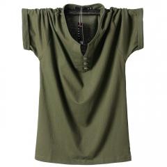 New T-shirt cotton half-sleeved men's polo shirt green 4xl
