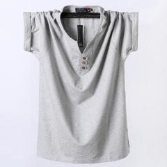 New T-shirt cotton half-sleeved men's polo shirt light gray xl
